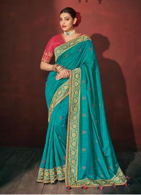 Impressive Embroidered Silk Blue Silk Saree