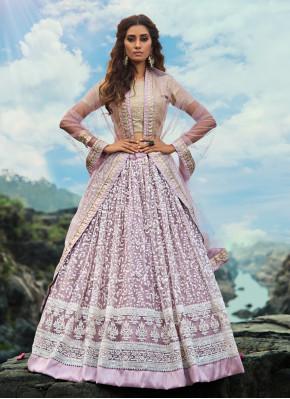 Impressive Lavender Zari Trendy Designer Lehenga Choli