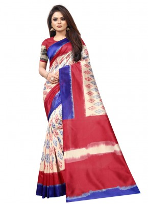 Impressive Multi Colour Abstract Print Raw Silk Traditional Saree