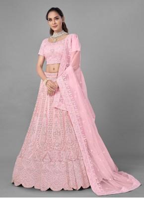 Impressive Net Pink Dori Work Lehenga Choli