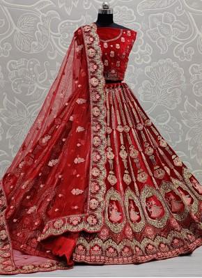 Impressive Red Velvet Lehenga Choli