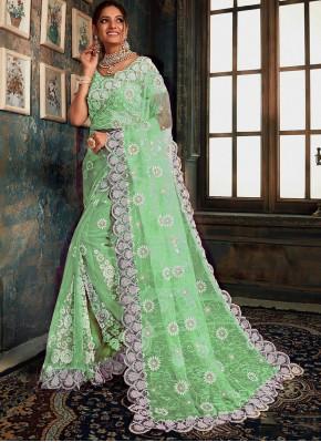 Impressive Resham Net Green Designer Saree