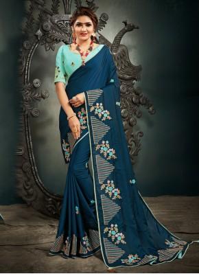 Impressive Silk Blue Designer Saree