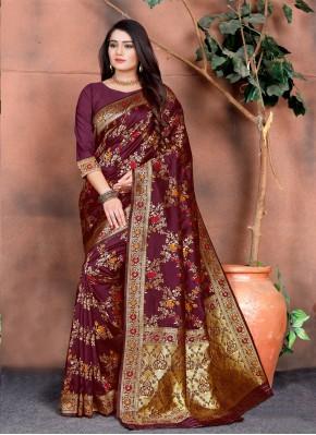 Impressive Silk Multi Colour Weaving Classic Saree