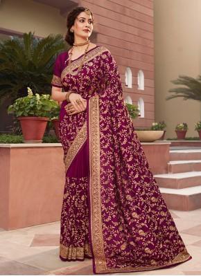 Impressive Vichitra Silk Purple Designer Saree