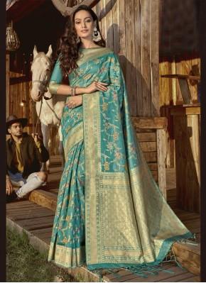 Incredible Aqua Blue Weaving Banarasi Silk Designer Traditional Saree
