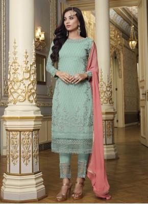 Incredible Faux Georgette Blue Designer Pakistani Suit