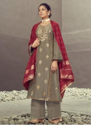 Incredible Jacquard Silk Embroidered Grey Designer Palazzo Salwar Kameez