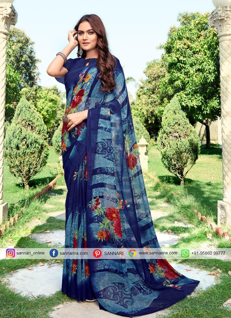 Incredible Multi Colour Printed Faux Chiffon Printed Saree