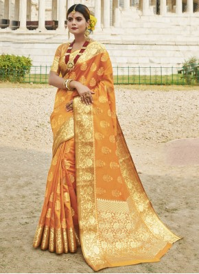 Incredible Mustard Woven Traditional Saree