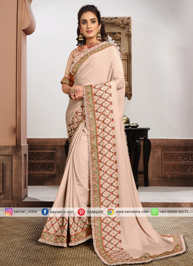 Incredible Patch Border Georgette Pink Classic Saree