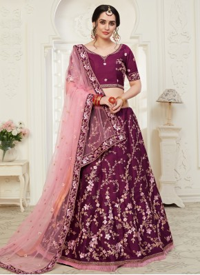 Incredible Wine Embroidered Bollywood Lehenga Choli