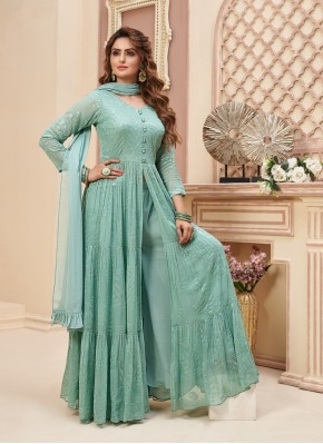 Indo Western Style Suit in Chiffon Satin