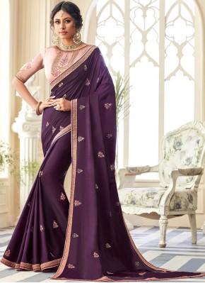 Innovative Embroidered Purple Contemporary Saree