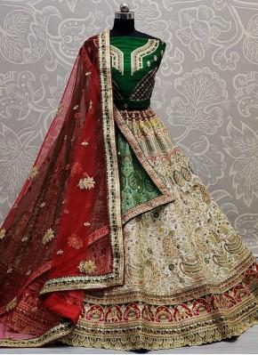 Innovative Green, Off White and Red Silk Lehenga Choli