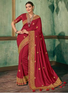 Innovative Red Embroidered Silk Silk Saree