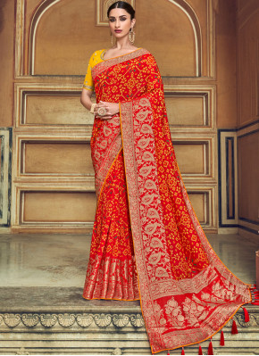Innovative Red Weaving Traditional Designer Saree