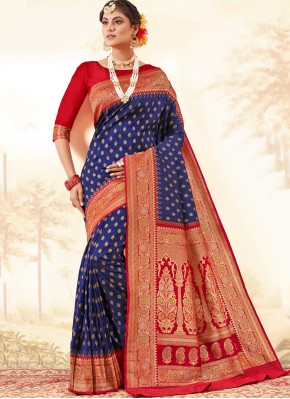 Innovative Weaving Navy Blue Silk Traditional Saree