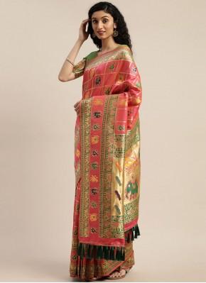 Innovative Weaving Pink Traditional Designer Saree