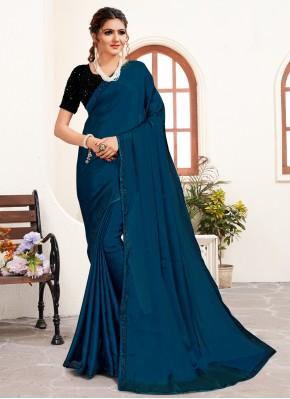 Integral Blue Stone Work Satin Classic Designer Saree