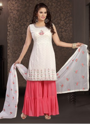 Integral Chanderi Off White Embroidered Readymade