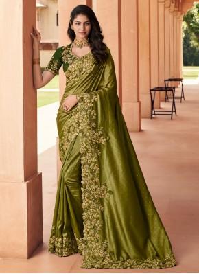 Integral Green Embroidered Georgette Designer Saree