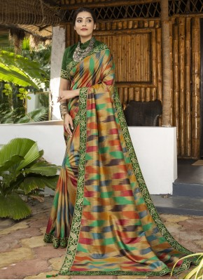 Integral Multi Colour Digital Print Silk Bollywood Saree