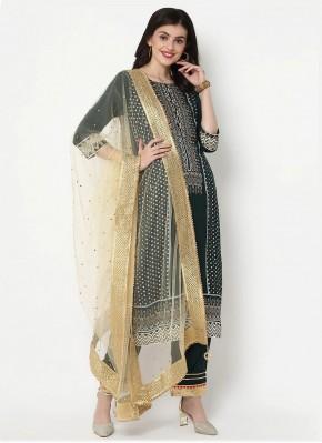 Integral Print Cotton Green Bollywood Salwar Kameez