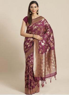 Integral Silk Weaving Wine Designer Saree