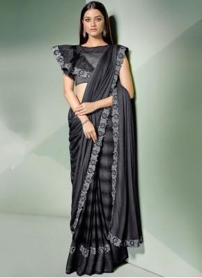 Integral Thread Lycra Black and Silver Designer Saree