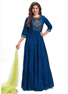 Intricate Blue Hand Embroidery Anarkali Suit