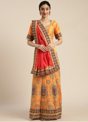 Intricate Embroidered Mustard Silk Traditional Saree
