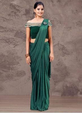 Intricate Fancy Lycra Green Designer Saree