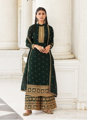 Intricate Faux Georgette Embroidered Designer Palazzo Salwar Suit
