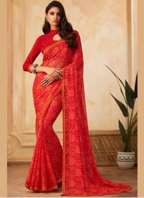 Intricate Faux Georgette Multi Colour Printed Saree