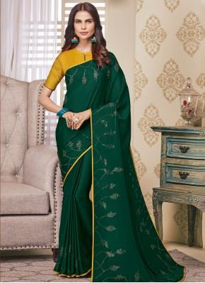 Intricate Satin Embroidered Green Classic Designer Saree