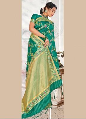 Intricate Sea Green Weaving Designer Traditional Saree