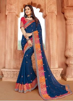 Intricate Silk Embroidered Classic Designer Saree