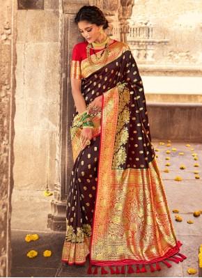 Intriguing Brown Fancy Banarasi Silk Designer Traditional Saree