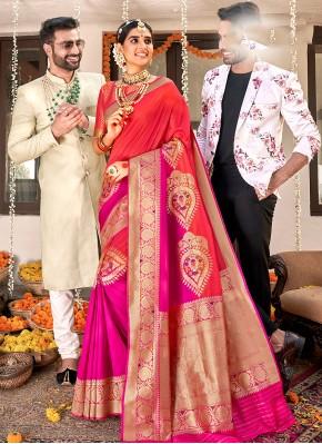 Intriguing Rani and Red Weaving Designer Saree
