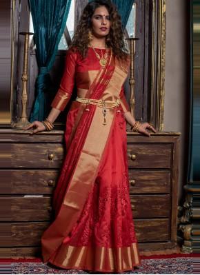 Intriguing Red Handloom silk Designer Traditional Saree