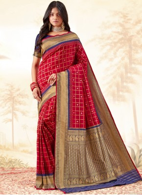Intriguing Red Traditional Saree