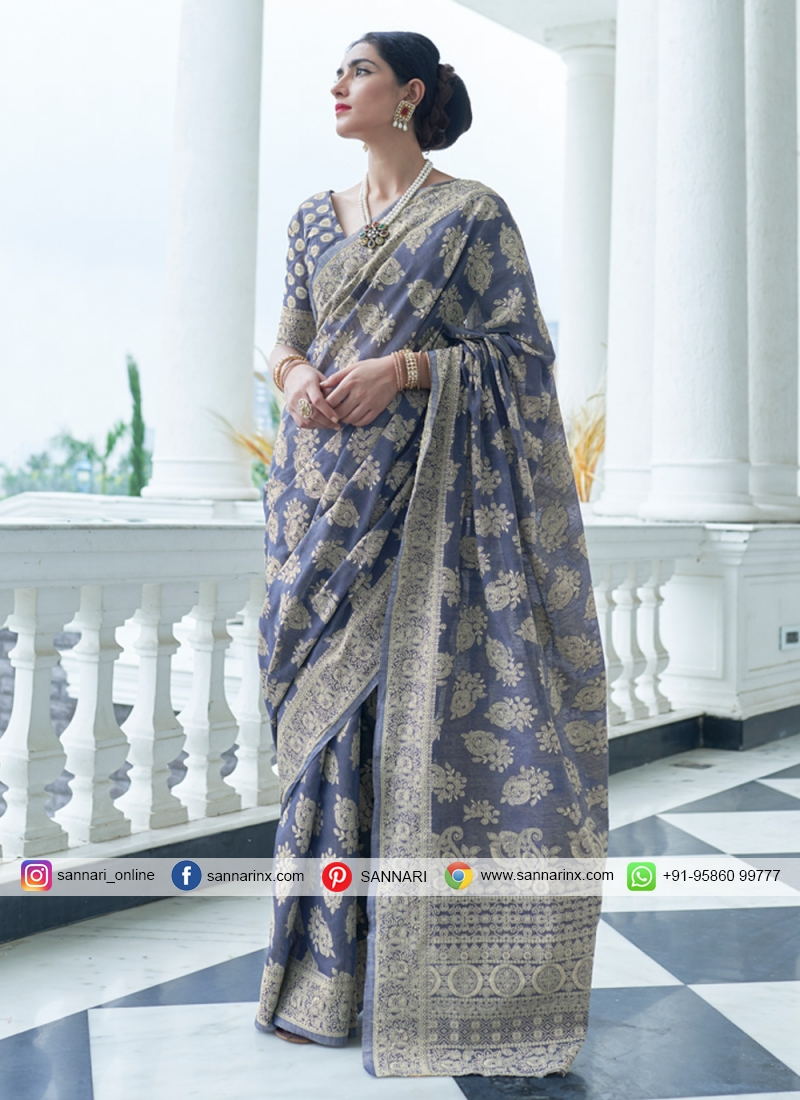 Intriguing Silk Weaving Grey Classic Designer Saree