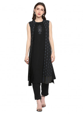Intrinsic Black Embroidered Designer Kurti