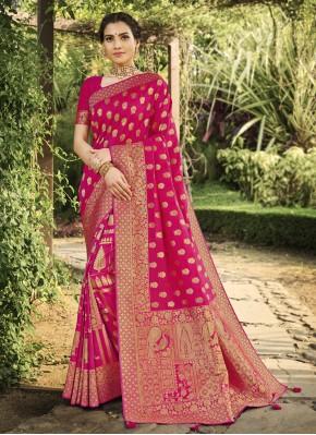 Intrinsic Hot Pink Silk Traditional Saree