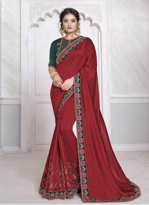 Intrinsic Maroon Embroidered Silk Designer Saree
