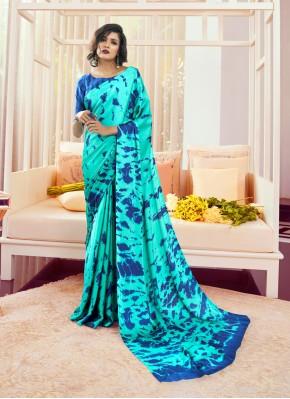 Intrinsic Printed Aqua Blue Classic Saree