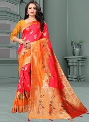 Intrinsic Weaving Orange and Rose Pink Traditional Designer Saree