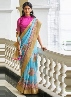 Invaluable Blue Linen Classic Saree