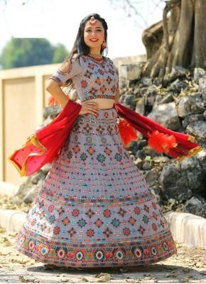 Invaluable Chiffon Multi Color Thread Work Designer Readymade Lehngha Choli